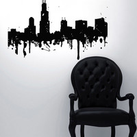 Vinyl Wall Decal Sticker Bedroom NY skyline Watercolour Buildings Map USA r1566