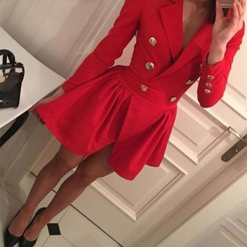 Red Studded Double Breasted Pleated Turndown Collar Long Sleeve Skater Cute Mini Dress
