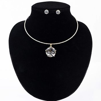 Crystal Glass Necklace Earrings Jewelry Sets For Women Rhinestones Gold Silver Color Collar Necklace Stud Earrings