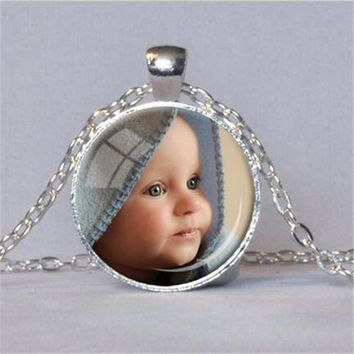 PERSONALIZED PHOTO PENDANT Custom Necklace Photo of Your Baby Child Mom Dad Grandparent Loved One Gift for Family Member OMG