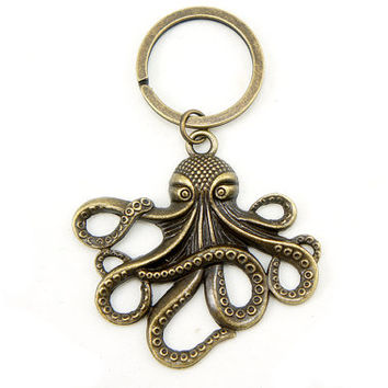 Octopus Keyring - Antiqued Brass Vintage Style Key Ring - Gift Ideas - CP101