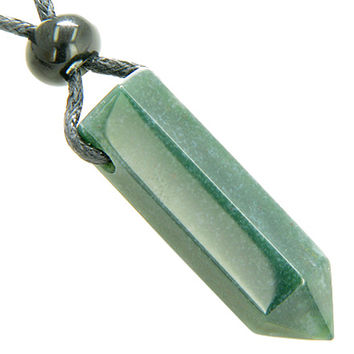 Lucky Crystal Point Pendant Necklace in Indian Agate Gemstone