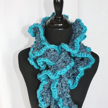 Ruffle Long Crotchet scarf, oceans of blues trimmed in turquoise, really long with lots of ruffly waves of color