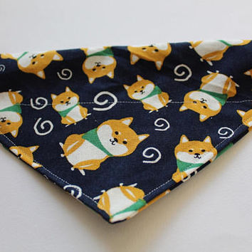 Buryu Shiba - Pet Bandana, Over-The-Collar Bandana, Shiba Bandana, Dog Pattern Bandana, Japanese Dog Bandana