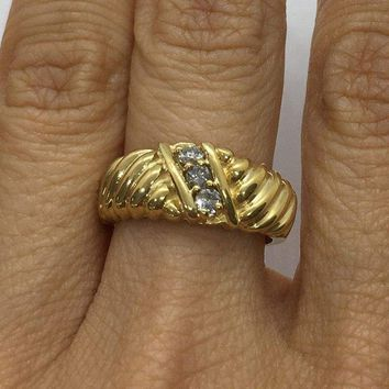 Luxinelle 0.20 ctw Diamond Statement Ring in 14K Yellow Gold by Luxinelle® Jewelry