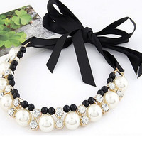 Pearl and Rhinestone Cluster Tie Necklace