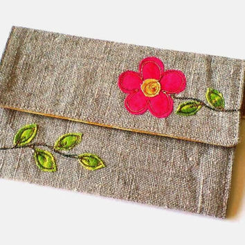 Women's card holder. Fabric card holder with embroidered pink flower design. Oyster card holder. Credit card holder. Made in England.
