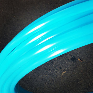 "Pre Made 30"" Seaglass 11/16 Polypro Dance Hoop Push Button Connection Collapse For Travel Bright Aqua Blue Semi Translucent"