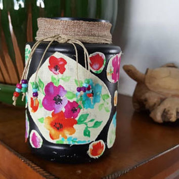 Makeup Brush Holder, Vintage, Shabby Chic, Handmade, Recycled, Home Decor, Black Makeup Jar, Makeup, Bedroom Decor, Makeup Holder, Organizer