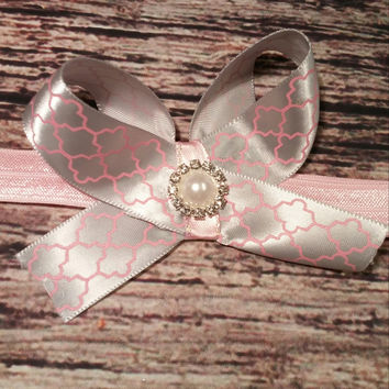 Silver and Pink Bow with Rhinestone encircled Pearl Baby Girl Headband!