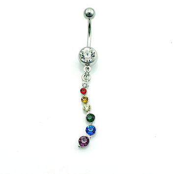 Fashion 316L Surgical Steel Dangle Color Ball Fake Belly Body Piercing Jewelry