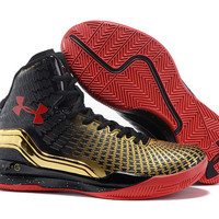 Men's Under Armour Stephen Curry Clutchfit Drive Black Gold Red Basketball Shoes