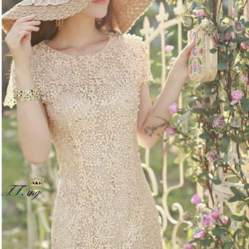 High Quality 2014 Summer New Hot Sale Handmade Beading Lace Cute Embroidery Hollow Out Slim Short Sleeve Women One-Piece Dress = 1958357188