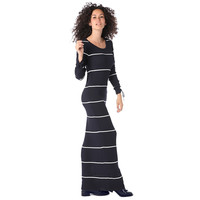 Navy blue stripe maxi dress in ribbed jersey- Web Exclusive