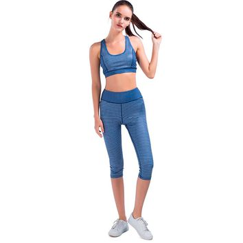SPECIAL MAGIC yoga suit bra+pants stripe fitness workout running sports set