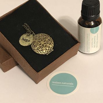 """Hope gold tone diffuser necklace & Essential Oil Set • aromatherapy diffuser jewelry • 24"""" necklace chain • Aromatherapy Gift Set"""