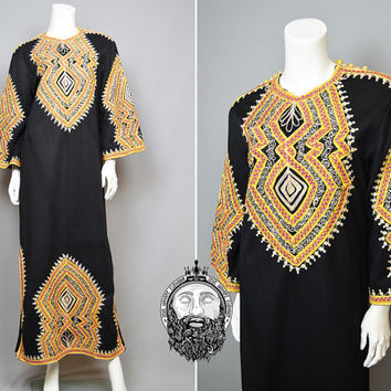 Vintage 70s Black and Gold Embroidered Indian Kaftan Maxi Dress Hippie Dress Silver Lurex Moroccan Caftan Boho Bohemian Afghan Dress 1970's