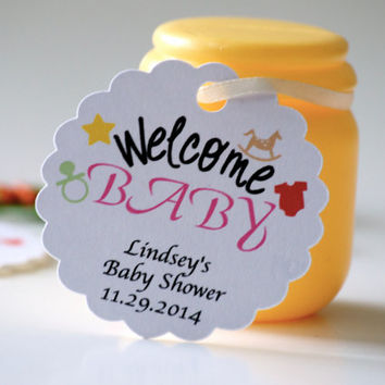 Baby shower favor tags, favor tags, personalized tags, gift tags, thank you tags - 30 tags