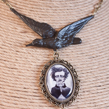 Edgar Allan Poe's Raven Necklace by AlternateHistory on Etsy
