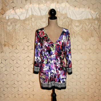 Purple Floral Top Boho Top Boho Blouse 3/4 Sleeve Peasant Top Abstract Floral Print Long Top Size 16 XL Size 18 2X Womens Plus Size Clothing