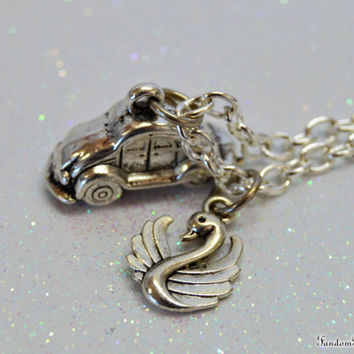 Emma Swan Necklace with a Bug Car and a Swan Charm, Once Upon a Time, ABC Television Show, by Fandom Magic