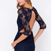 Somebody to Love Backless Navy Blue Lace Dress