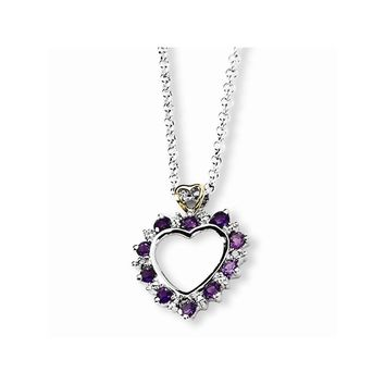 Sterling Silver 18 Inch & 14k Yellow Gold Amethyst & Diamond Heart Love Necklace