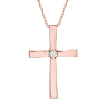 Diamond Accent Solitaire Cross Pendant in 10K Rose Gold