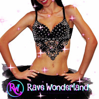 Womens Black sequin lace elegant bra. rave, ed,c ultra, festival, belly dancing Bra Top 3 Colors