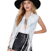 Sleeveless Fringed Blouse