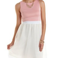 Soft Pink Combo Scuba Knit & Tulle Skater Dress by Charlotte Russe