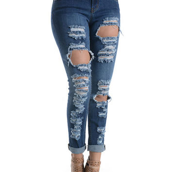 The Destroyed Skinny Jeans in Blue