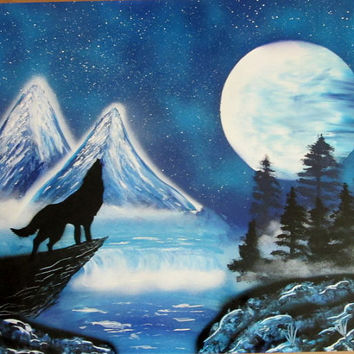 wolf spray paint art,wolfdecor,wolf gifts,wolf art,wolf painting,original painting large,24inch*30inch,wolf spray painting,birthday gifts