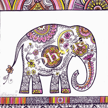 Elephant Art PRINT, Fantasy Elephant Drawing, Fine art Reproduction, Bohemian Wall Decor, Ethnic Art Print, Cute Elephant Wall  Decor