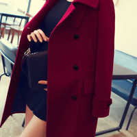 Lapel Double-breasted Woolen Coat with Pocket