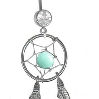 Mystic Green Dream Catcher Belly Ring-Clear Jeweled 14 gauge 3/8 Barbell Navel Ring Body Jewelry