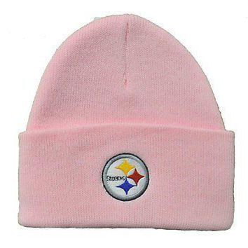 NFL Pittsburgh Steelers Beanie Cuff Embroidered Knit Winter Hat Pink Football