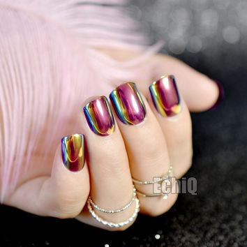 Laser Hologram Chameleon Blue Gold Rose Pink Light False Nails Tips Reflective Metallic Mirror Abalone Full Cover Fake Nail