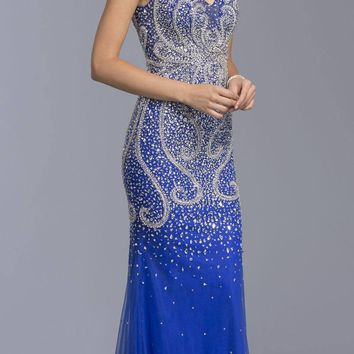 Royal Blue Rhinestone Embellished Evening Gown V-Neck