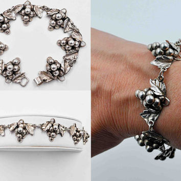 Vintage Taxco Grape Cluster Link Bracelet, 925 Sterling Silver, Mexico, Signed Aaron D, Eagle 3, Grapes, 3D, Vineyard Beauty! #b657