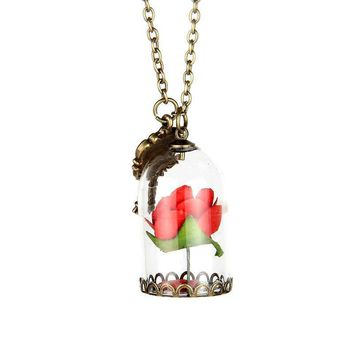 Women Beauty and the Beast Rose Pendant Necklace