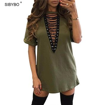 Plus Size Summer Dress 2017 Women Deep V Neck Hollow Out Sexy Club Party Dresses Casual Short Loose T-Shirt Dress Vestidos