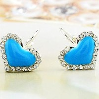 Sweet Cute Heart Rhinestone Earrings
