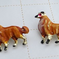 Vintage Enamel Collie Dog Scatter Pin Brooches Costume Jewelry