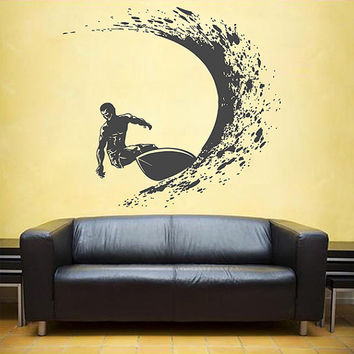 kik1120 Wall Decal Sticker Sea surf surfer wave hawaii living room bedroom