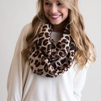 A Little Bit Of Leopard Peach Infinity Scarf