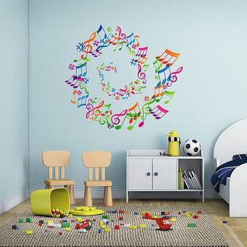 kcik290 Full Color Wall decal treble clef music notes bedroom living room