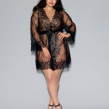 Dreamgirl Plus Size Long-Sleeved Lace Kimono Robe w/Eyelash Trim Black