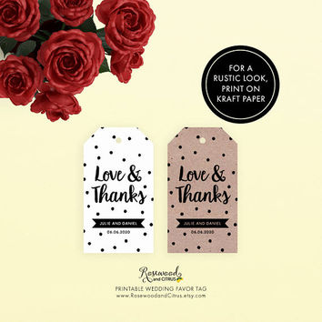 Love and Thanks Tags, Printable Wedding Favor Tags, Wedding Tags, Modern Wedding Thank You Tags, Favor Gift Tags, Polka Dot, Thank You Favor