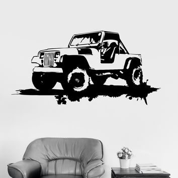 Vinyl Wall Decal Military Car Garage Decor Grunge Art Stickers Unique Gift (ig3202)